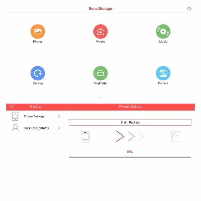 BoostStorage app backup